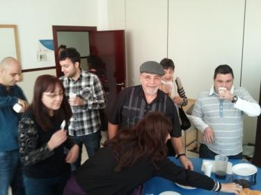Los voluntarios durante un descanso de la sesión